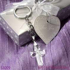 2 White Cross Keychain with Pink Crystals