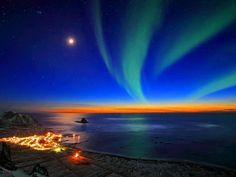 Sunset in the village of Bleik, Norway