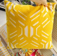 yellow throw pillow $13