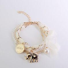 Aleación de gasa bowknot Elefante Colgante Pulsera – USD $ 2.69