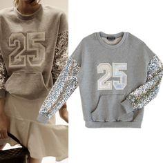 Women Print Sequined Patchwork Loose Sweatshirts