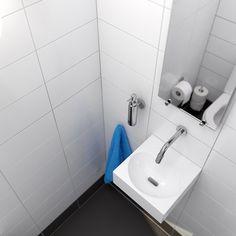 Clou - Flush 4 fontein van wit keramiek. Deze toiletruimte is voorzien van wandgemonteerde Freddo fonteinkraan. De spiegel is uit de Look At Me serie en het ophangsysteem is van Hold Me serie.