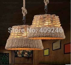 92.00$ Buy here - http://aliidd.worldwells.pw/go.php?t=32662656153 - Vintage Edison Loft American Rural Handmade Hemp Rope Chandelier Ceiling Lamp Droplight For Cafe Coffee Shop Bar Club 92.00$
