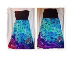 Tie Dye Cotton Maxi Skirt, Grateful Dead Skirt, Women's Plus Size Skirt, organic cotton Hippie Skirt, Fold over top, Beach cover up, L-XXL by Phatcatpatch on Etsy