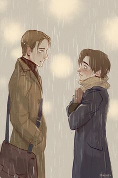 """thacmis: """"""""""""-Charles?"""" Erik's voice jolts him out of his reverie, and Charles realizes that the wetness on his cheeks might not be completely from the rain anymore. """" Drawing inspired by this song. Modern AU where Erik is leaving somewhere soon, and..."""