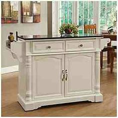Curved Door Kitchen Cart With Granite Insert At Big Lots Love