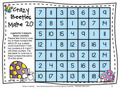 Addition game for 2 players, find 2 or 3 numbers that add to 20. From Addition Board Games by games 4 Learning - 27 printable addition board games. $