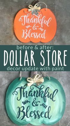 How to paint a farmhouse style fall pumpkin on a dollar store door hanger. Hake a cute and easy fall craft with a dollar store pumpkin sign and chalk paint. Dollar Store Christmas, Dollar Store Crafts, Christmas Wood, Christmas Signs, Dollar Stores, Acrylic Craft Paint, Chalk Paint, Decorating On A Dime, Holiday Decorating