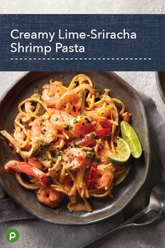 Creamy Lime-Sriracha Shrimp Pasta Make tonight's dinner memorable with the bright, bold flavor Shrimp Dishes, Shrimp Pasta Recipes, Pasta Dishes, Seafood Recipes, Dinner Recipes, Cooking Recipes, Healthy Recipes, Appetizer Recipes, Publix Aprons Recipes