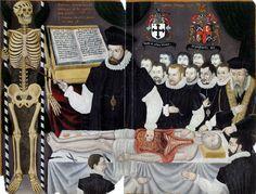 """John Banister enseñando anatomía en el Colegio de Barberos y Cirujanos de Londres (""""John Banister delivering an anatomy lecture""""). Autor desconocido. 1581. Glasgow University. https://painthealth.wordpress.com/2016/01/14/john-banister-ensenando-anatomia-en-el-colegio-de-barberos-y-cirujanos-de-londres/"""