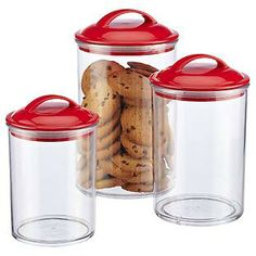 The Container Store > Color Pop Acrylic Canisters with Red Lids