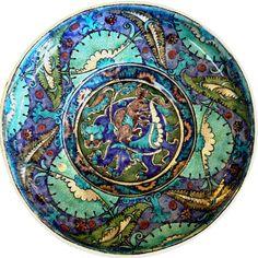 William De Morgan,  Bear and Hare Dish,  Ceramic lustreware dish,  ©The De Morgan Centre