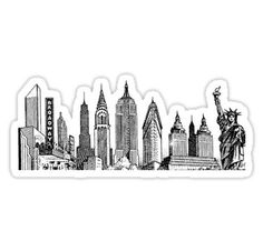 new york skyline sticker Sticker Cute Laptop Stickers, Cool Stickers, Printable Stickers, Image Stickers, Tumblr Stickers, Guys And Dolls, Arte Disney, New York Art, Aesthetic Stickers