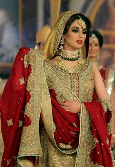 Gorgeous pakistani bride red and golden jari work outfit