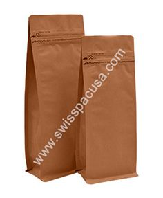 Our 4 oz KRAFT Flat Bottom Bag with TEAR zipper are a more economical approach to pack variety of productsas they are leakage proof and easy to store and transport.