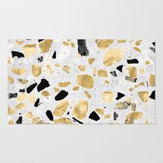 Classy gold vintage marble abstract Terrazzo rug by InovArtS