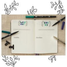 Bullet Journal Inspiration: Daily Logs with turquoise letterings.