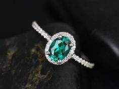 Ultra Petite Federella 14kt White Gold Oval Emerald and Diamonds  Halo Engagement Ring (Other metals and stone options available) on Etsy, $975.00