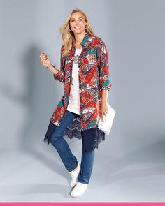 Kimono Top, Jeans, Shorts, Stone, Blue, Women, Products, Fashion, Moda