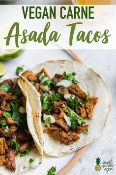 Get ready to enjoy some classic carne asada tacos.made without the meat! This vegan version of the classic Mexican recipe is spot on to what I remember it to taste like growing up. Its full of flavor easy to make and packed with plant-protein! Carne Asada, Vegan Mexican Recipes, Vegetarian Recipes, Healthy Recipes, Ethnic Recipes, Vegan Meat Recipe, Vegetarian Tacos, Protein Recipes, Vegan Foods