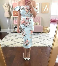 Floral Fold Detail Bardot Scuba Pencil Dress, white pumps, summer outfit, wedding outfit idea, spring dress, petite fashion blog, click the photo for outfit details!