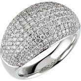 14kt white gold pave' Domed diamond ring