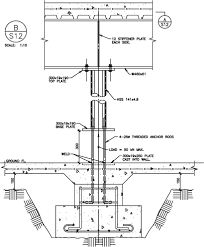 slanted structural steel column base connection detail