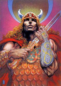 Nuada of the Silver Arm- Irish artist Jim Fitzpatrick Irish Celtic, Celtic Art, Jim Fitzpatrick, Irish Mythology, Celtic Warriors, Celtic Culture, Legends And Myths, Irish Art, Sword And Sorcery