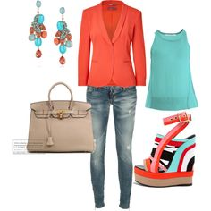 Coral & aqua - love this combo!  I'm pretty sure I would break my neck in those shoes but I like how they look :)