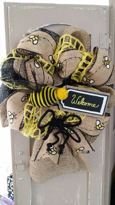 Bee Decor Bee Burlap Wreath Small Welcome by Underthekentuckysun