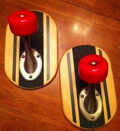 Great for a boys room! Pottery Barn Teen skateboard hooks!