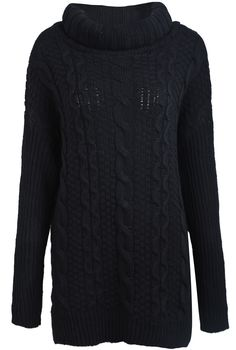 Black High Neck Vintage Cable Knit Sweater US$30.33