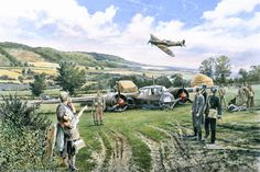 """The Castle Farm Dornier Sunday, September 15th, 1940. A Spitfire of No.609 Squadron piloted by Pilot Officer """"Red"""" Tobin roars over a crashed Dornier 17Z from 8/KG76. Smoke still rises from the crashed Dornier's starboard engine as the bomber's pilot, Feldwebel Heitsch is led away. Heitsch and his crew were attacked by two Spitfires from No 609 Squadron over North Kent. After a low-level pursuit along the Darent Valley, Heitsch made a forced landing in a field at Castle Farm, Shoreham."""