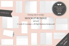 Greeting cards 4x8 - Mockup bundle @creativework247