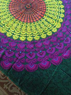 Bohemian Hippie Tapestry Fabric Mandala by SticksandStonesHemp1