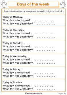 Tante schede didattiche da stampare in PDF per imparare i giorni della settimana in inglese per bambini della scuola primaria con esercizi divertenti