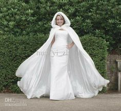 wedding cloak on sale at reasonable prices, buy Long Women White Ivory Wedding Cloaks Faux Fur Trim Winter Christmas Bridal Cape Stunning Wedding Cape Hooded Party Wraps Jacket from mobile site on Aliexpress Now! Wedding Coat, Wedding Jacket, Ivory Wedding, Autumn Wedding, Wedding Groom, Bridal Cape, Bridal Gowns, Wedding Gowns, Wedding Shawls