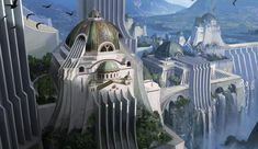 A city influenced by water as it i their main source of life. This was inspired by Riot's amazing work of Demacia. My Fantasy World, Fantasy City, Fantasy Castle, Fantasy Places, High Fantasy, Landscape Concept, Fantasy Landscape, Landscape Art, Dungeons And Dragons Classes