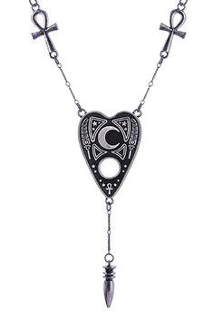 Ouija spirit board necklace with ankh, cross, karnak and pendulum