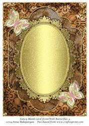 Fancy Blank Card Front with Butterflies 4