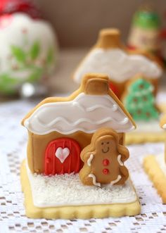 Gingerbread house decorated cookies