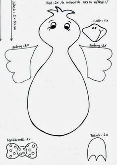 template for bird Spring Crafts For Kids, Halloween Crafts For Kids, Art For Kids, Diy And Crafts, Arts And Crafts, Crochet Sheep, Diy Ostern, Preschool Themes, Kids Patterns