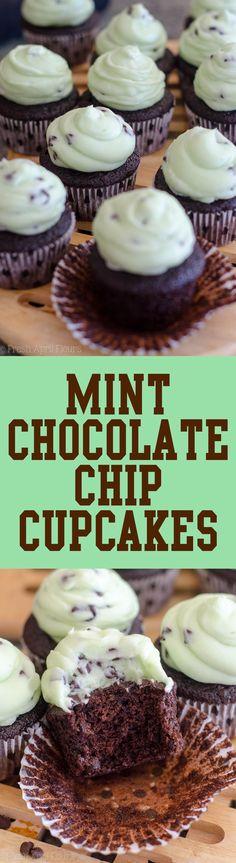 Mint Chocolate Chip Cupcakes: Dark chocolate chocolate chip cupcakes topped with creamy mint chocolate chip buttercream. via @frshaprilflours
