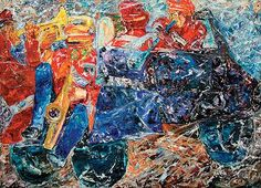 "Artville Contemporary Artist Of The Day  Krishen Khanna Title: Marriage Band in a Tempo Medium: Oil on canvas Size: 50"" x 70"" Year: 1991"
