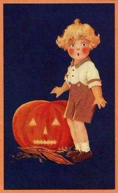 Vintage illustration - boy with JOL Vintage Halloween Cards, Retro Halloween, Vintage Holiday, Holidays Halloween, Scary Halloween, Vintage Cards, Vintage Postcards, Halloween Crafts, Happy Halloween