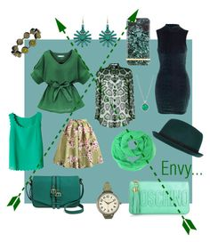 """""""Green With Envy x"""" by xhazeyx on Polyvore featuring Moschino, Merona, Givenchy, River Island, Chicnova Fashion, TOKYObay, Tacori, women's clothing, women and female"""