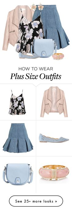 """Pink & Blue"" by feelgood35 on Polyvore featuring Zizzi, Balmain, Ally Fashion, rag & bone, Kate Spade and Mixit"