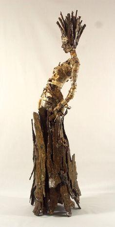 """""""New Skin"""", Becky Grismer, birch and hickory shag bark. Ancient Aliens, Sculpture Art, Sculptures, Sculpture Ideas, Paperclay, New Skin, Figurative Art, Altered Art, Wood Art"""