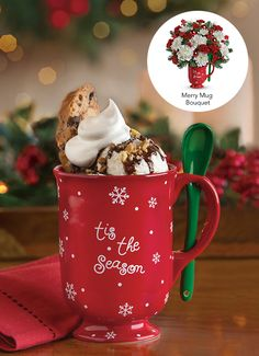 Teleflora& Merry Mug Bouquet - use the keepsake mug to cozy up by the fire with a decadent mug of hot cocoa! Frozen Drink Recipes, Frozen Drinks, Christmas Mugs, Christmas Time, Baileys Coffee Creamer, Cake Boss Buddy, Hot Chocolate, Chocolate Espresso, My Coffee