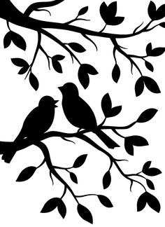 Darice craft embossing folders - Birds in Branches embossing folder. Birds in Branches embossing folder by Darice depicts a couple of birds in a leafy tree branch. Vogel Silhouette, Silhouette Design, Bird Silhouette Art, Bird Stencil, Stencil Art, Stencil Printing, Stencil Patterns, Stencil Designs, Paper Art